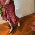 Band-waist Ruffle-layered Lace Skirt