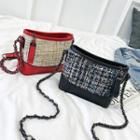 Woven Panel Zipper Chain-strap Crossbody Bag