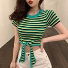 Short-sleeve Striped Drawstring Front Knit Top