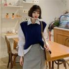 Open-side Rib Knit Vest