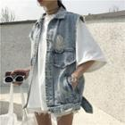 Distressed Denim Vest As Shown In Figure - One Size