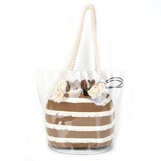 Transparent Pvc Tote With Drawstring Fringed Pouch