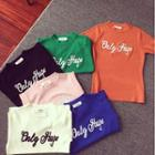 Lettering Short-sleeve Knit Top