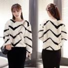 Chevron Long Sleeve Furry Thick Sweater