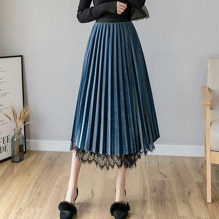 Conversable Pleated Lace Midi Skirt