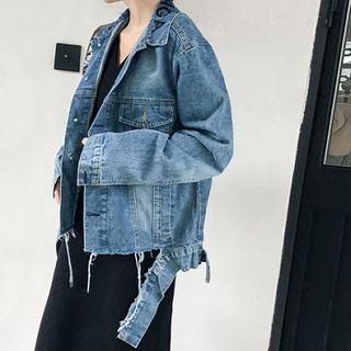 Washed Frayed Denim Jacket