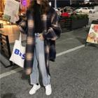 Long Buttoned Plaid Coat