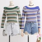 Asymmetric Striped Knit Top
