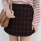 Band-waist Checked Flannel Mini Skirt