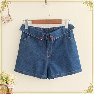 Embroidered Elastic Waist Denim Shorts