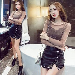 Set: Glittered Long Sleeve Mesh Top + Faux Leather A-line Skirt