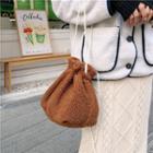 Faux Shearling Drawstring Bucket Bag