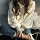 Balloon-sleeve Faux-pearl Rib-knit Cardigan