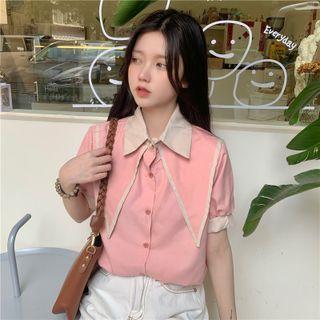 Short-sleeve Paneled Shirt Pink - One Size