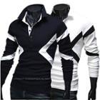 Long-sleeve Color Block Polo Shirt