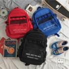 Mesh Panel Letter Embroidered Backpack