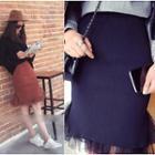 Sheer Panel Midi Skirt