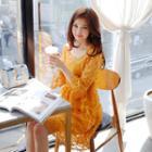 Set: Appliqu  Mesh Dress + Camisole Long Top