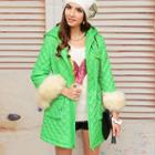Furry-cuff Quilted Hooded Coat