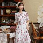 Floral Short Sleeve Tie-neck Chiffon Dress