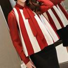Set: Stripe Tie-neck Blouse + Stripe Knit Vest