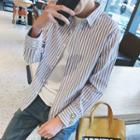 Smiley Face Embroidered Striped Shirt