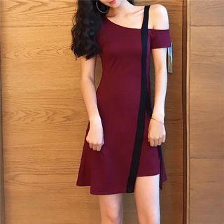 Irregular Cold-shoulder Mini A-line Dress