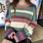 Striped Cable Knit Sweater As Shown In Figure - One Size