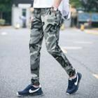 Drawstring Camouflage Gather-cuff Pants
