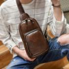 Faux-leather Sling Bag With Usb Charging Port