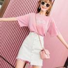 Set: Short-sleeve Lettering T-shirt + Mini Buttoned Denim Skirt