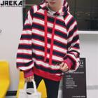 Loose-fit Striped Hooded Pullover