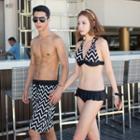Couple Matching Set: Printed Ruffled Bikini + Jacket / Beach Shorts