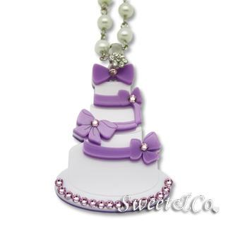 Sweet Purple Dolly Cake Swarovski Pearly Long Necklace Purple - One Size