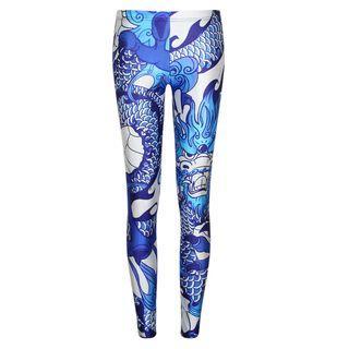 Printed Leggings Blue - One Size