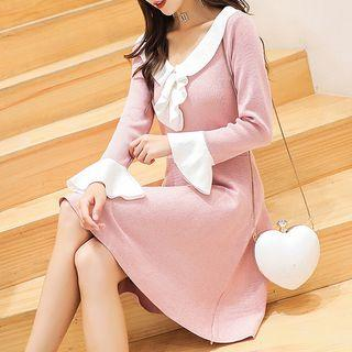 Knit Ruffle-trim Long-sleeve A-line Dress