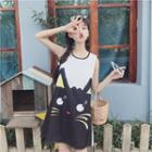 Sleeveless Cat Printed A-line Dress