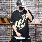 Mock Two-piece Elbow-sleeve Letter T-shirt