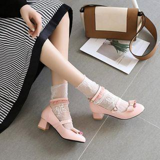 Bow Accent Block-heel Ankle Strap Pumps