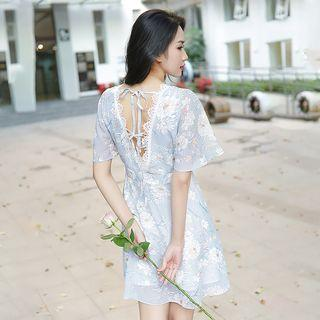 Short-sleeve Floral Printed A-line Dress