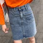 Asymmetric Washed Denim Skirt