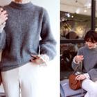 Furry-sleeve Wool Blend Sweater
