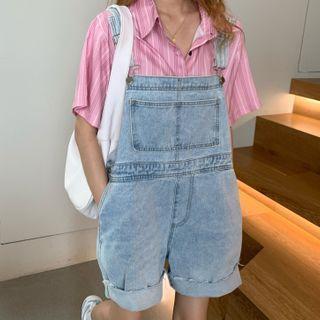 Striped Short-sleeve Shirt / Denim Shorts