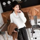 Fuzzy Knit Funnel-neck Sweater