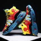 Tree Print Color Block High-top Sneakers