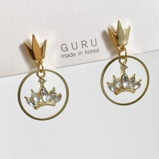 Rhinestone Crown Earrings Studded Earring - One Size