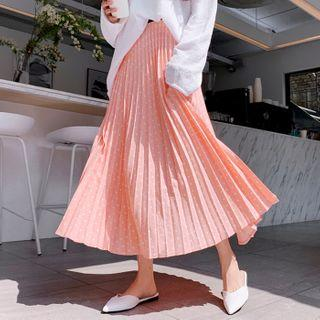 Dotted Maxi Accordion-pleat Skirt