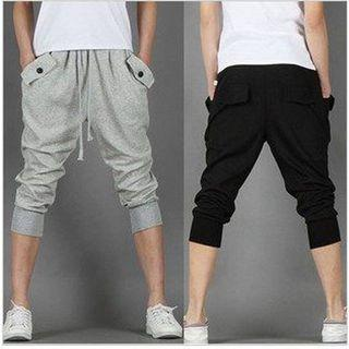 Drawstring Drop-crotch Cropped Sweatpants