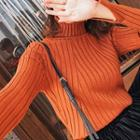 Plain Mock-neck Striped Knit Top