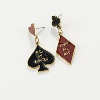 Non-matching Drop Earring 1 Pair - Red & Black - One Size